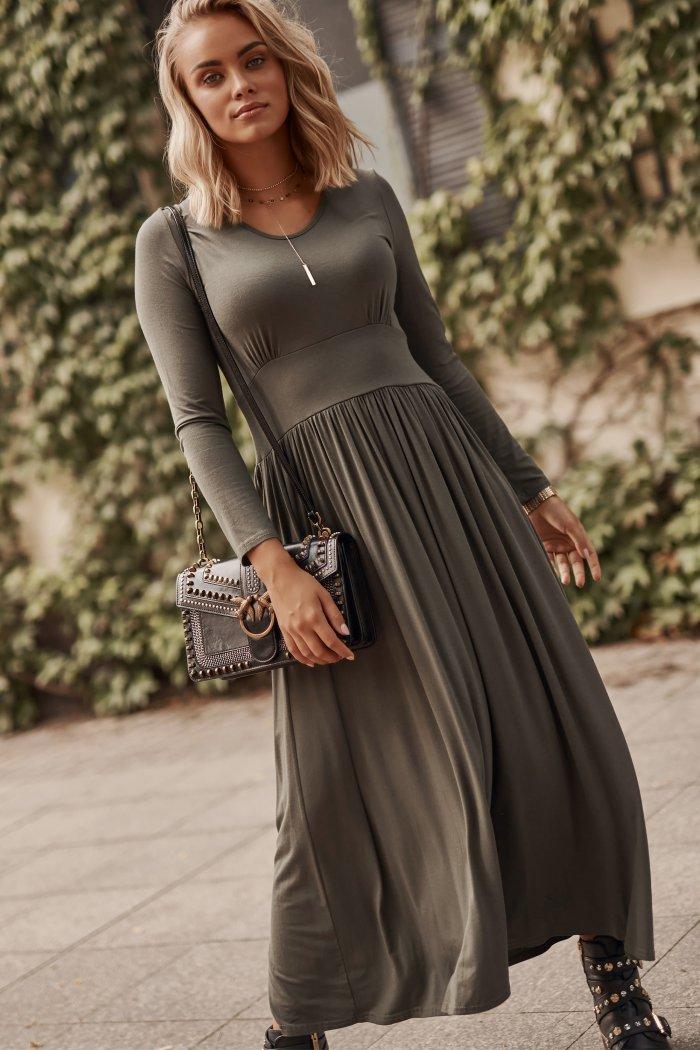 Wiskozowa sukienka maxi z drapowaniem khaki M571