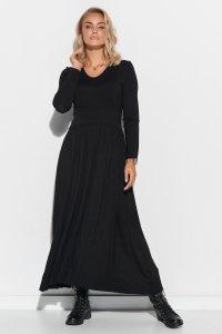 Wiskozowa sukienka maxi z drapowaniem czarna M571