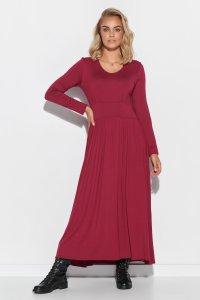 Wiskozowa sukienka maxi z drapowaniem burgund M571
