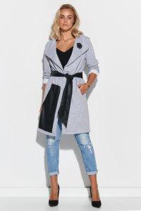 Dresowy płaszcz damski z elementami z eko-skóry i aplikacją szary M596