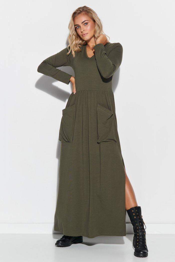 Sukienka maxi z dekoltem w serek i kieszeniami khaki M572