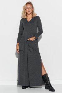 Sukienka maxi z dekoltem w serek i kieszeniami grafitowa M572