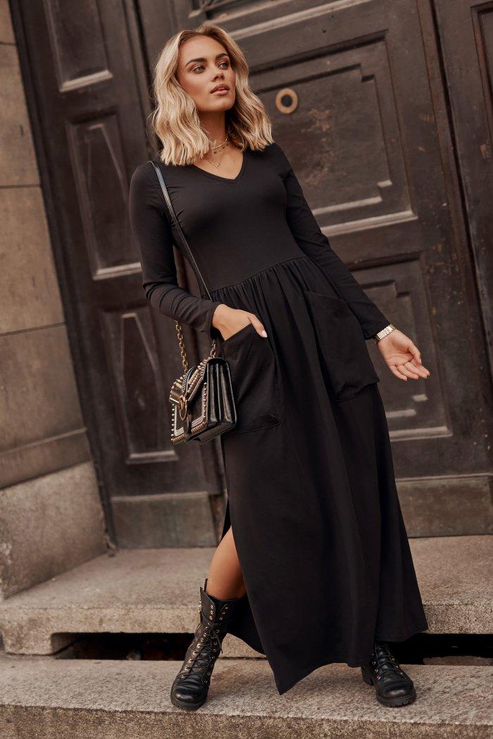 Sukienka maxi z dekoltem w serek i kieszeniami czarna M572
