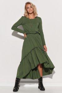 Dzianinowa sukienka maxi z gumą i falbanami khaki M573