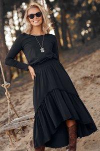 Dzianinowa sukienka maxi z gumą i falbanami czarna M573