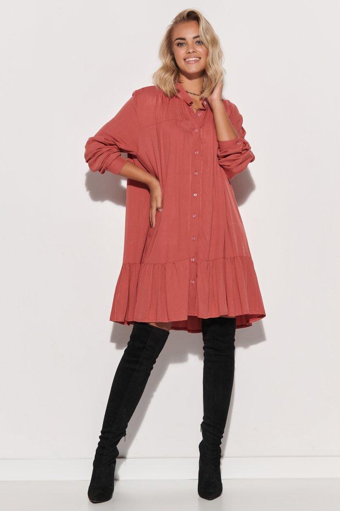 Koszulowa sukienka damska oversize róż indyjski M576