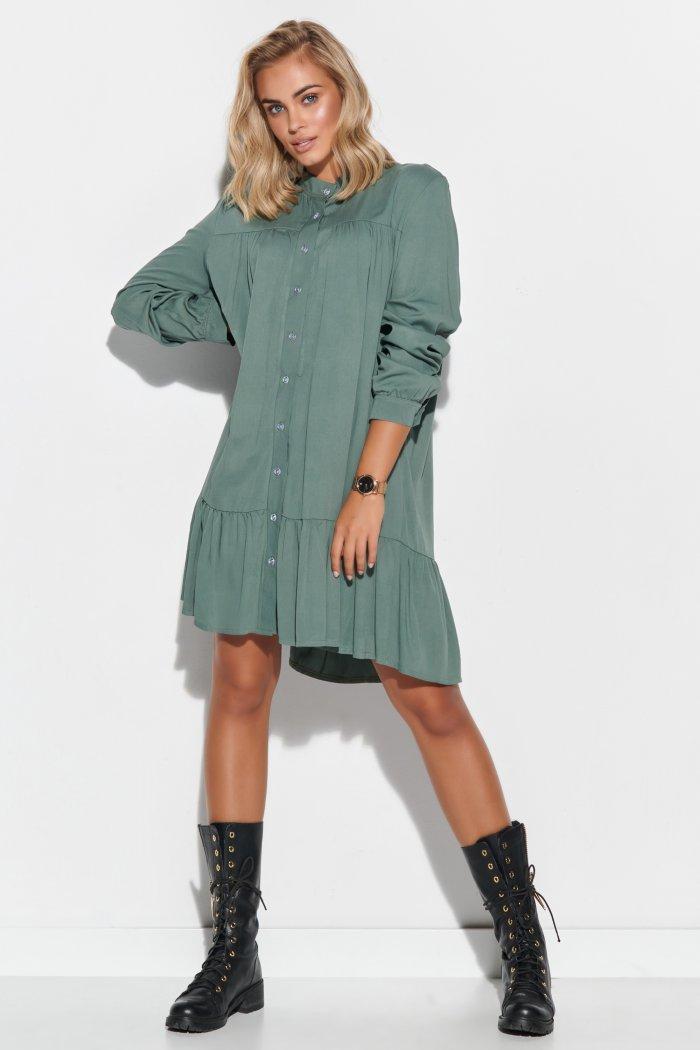Koszulowa sukienka damska oversize khaki M576