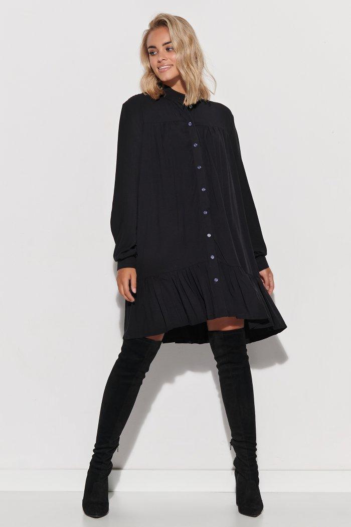 Koszulowa sukienka damska oversize czarna M576