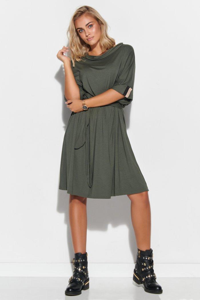 Sukienka oversize z paskiem khaki M578