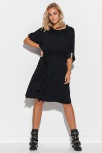 Sukienka oversize z paskiem czarna M578