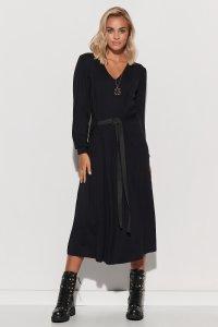 Luźna sukienka damska z paskiem czarna M580