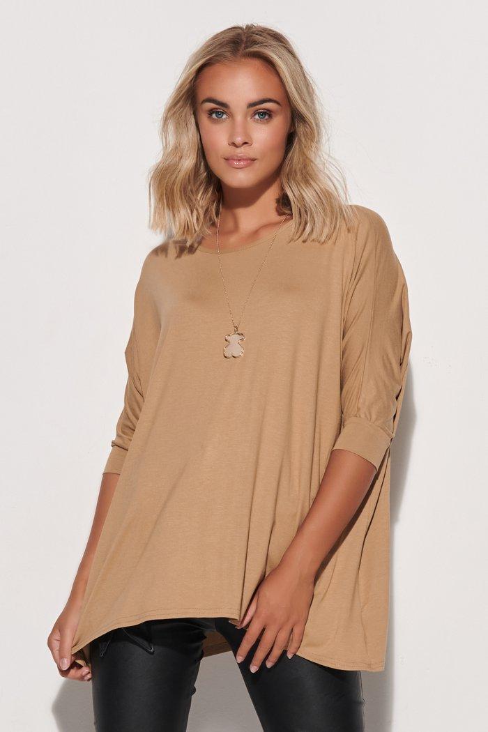 Luźna bluzka damska one size beżowa M583