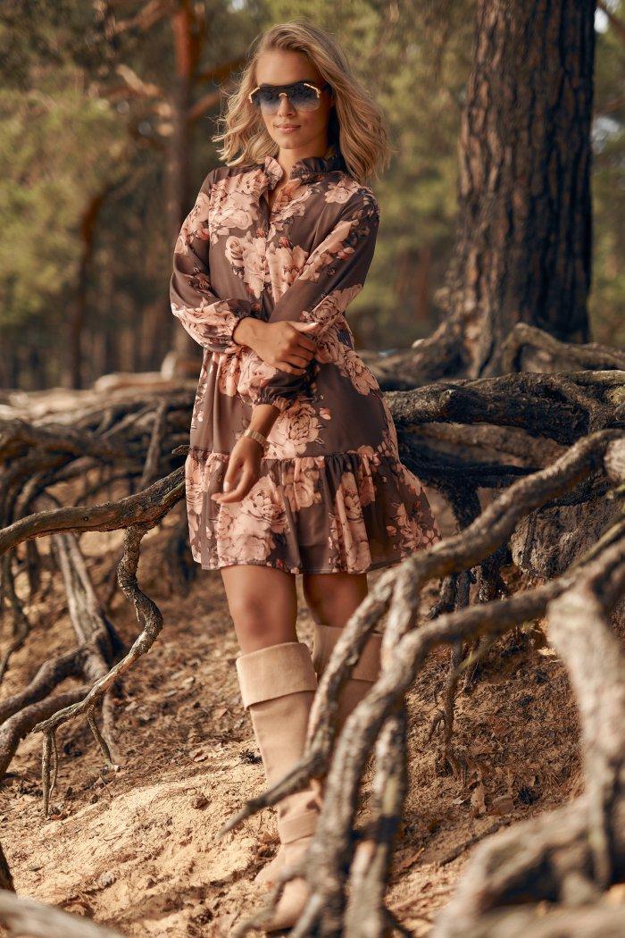 Sukienka z falbankami w kwieciste wzory w.7 M585