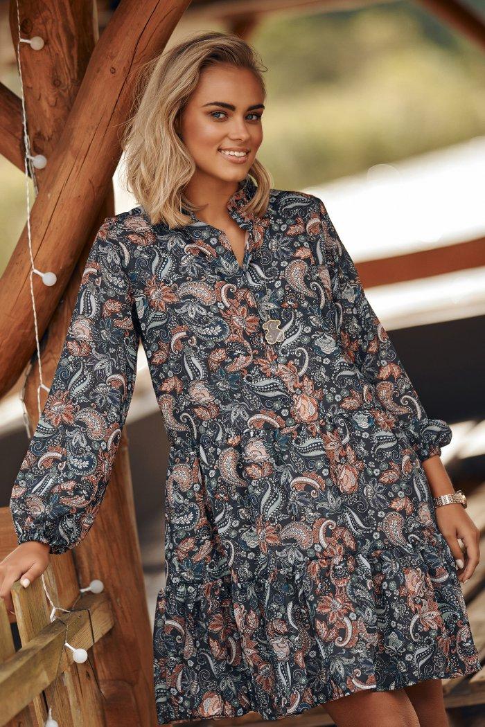 Sukienka z falbankami w kwieciste wzory w.11 M585