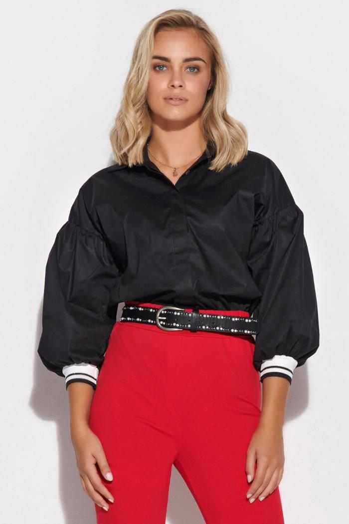 Koszula damska z rękawami bufkami czarna M587
