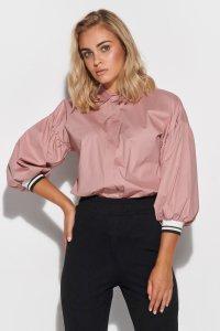 Koszula damska z rękawami bufkami różowa M587