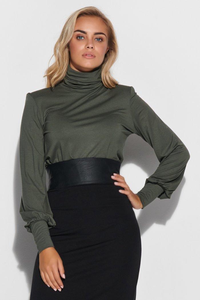 Bluzka damska z golfem, poduszkami i ściągaczami khaki M593