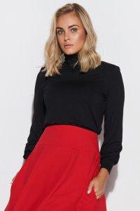 Bluzka damska z golfem, poduszkami i ściągaczami czarna M593