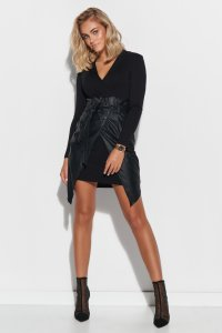 Dopasowana sukienka mini z elementami z ekoskóry czarna M595