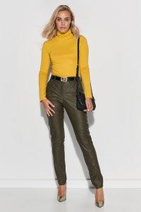 Klasyczne spodnie damskie z ekoskóry khaki M617