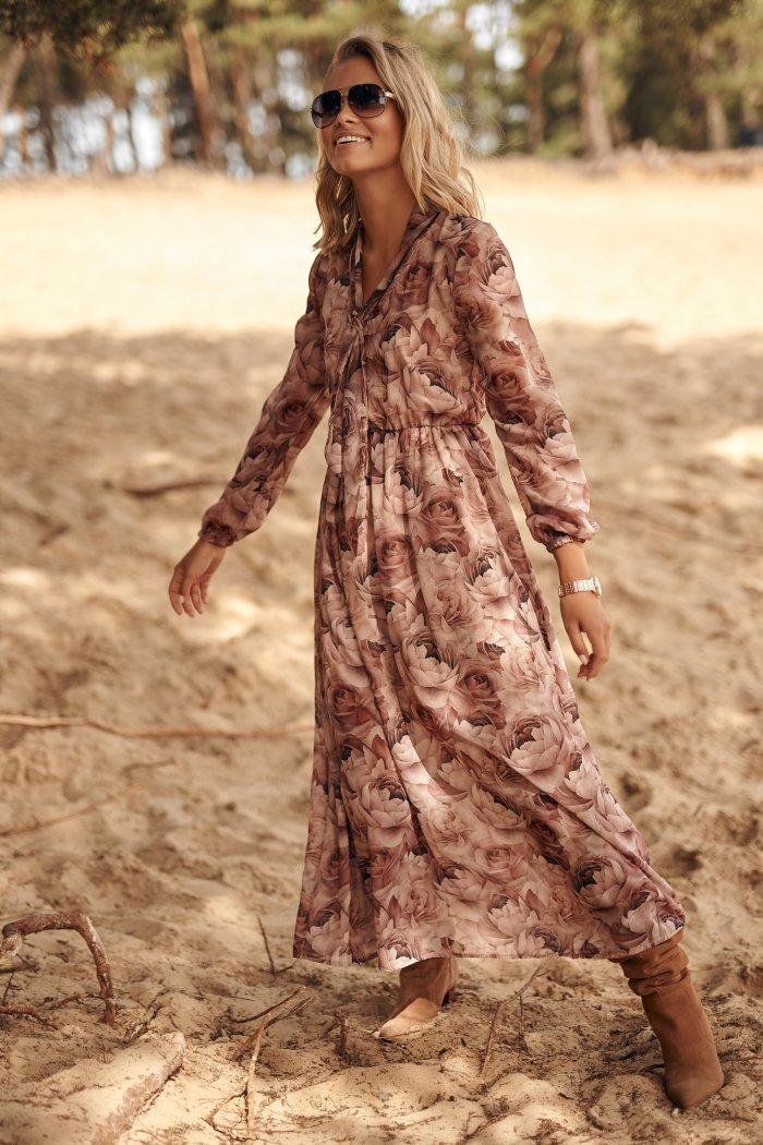 Sukienka maxi ze ściągaczem w talii i rozcięciem w.9 M604