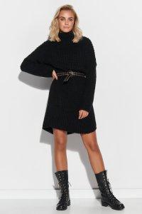 Wełniana sukienka mini z golfem czarna S111
