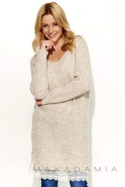 Sweter beżowy z koronką S55