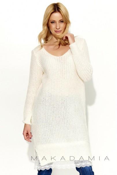 Sweter ecru z koronką S55