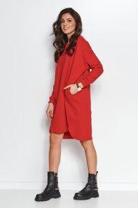 Dresowa sukienka oversize czerwona NU270