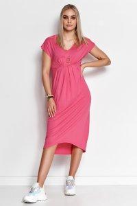 Asymetryczna sukienka z wiskozy amarantowa M534