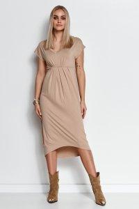 Asymetryczna sukienka z wiskozy beżowa M534