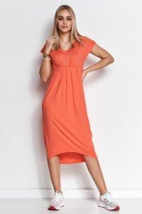 Asymetryczna sukienka z wiskozy pomarańczowa M534