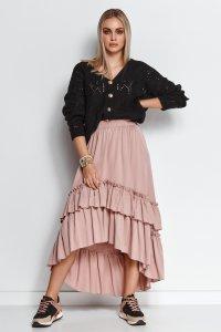 Długa wiskozowa spódnica asymetryczna brudny róż M651