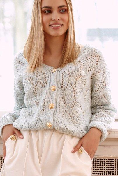 Ażurowy sweter damski...