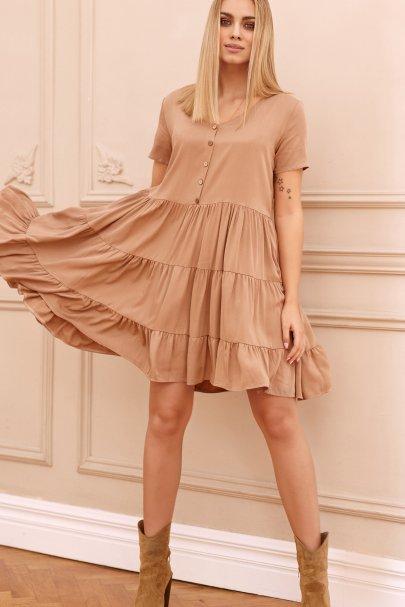 Sukienka z drewnianymi...