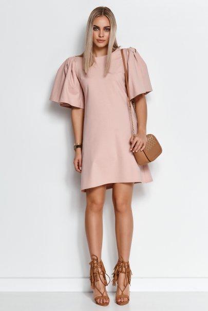 Trapezowa sukienka mini z...