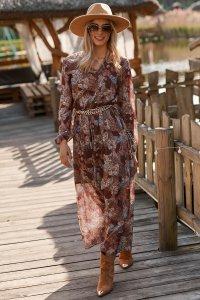 Długa lekka sukienka z printem szyfon 28 M674