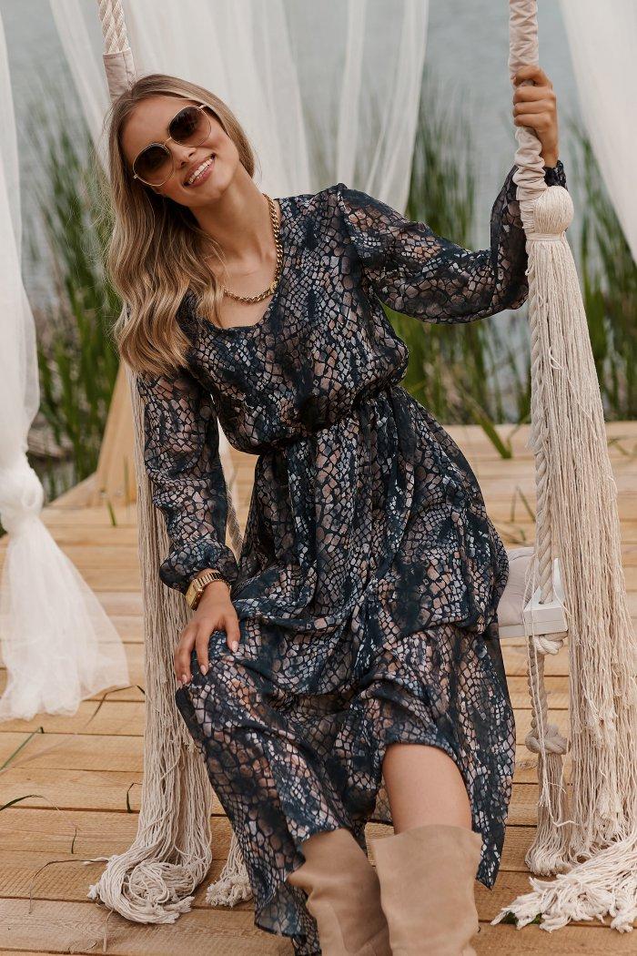 Długa lekka sukienka z printem szyfon 29 M674