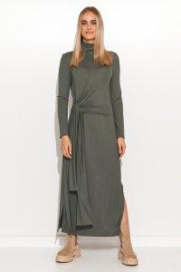 Sukienka wiskozowa z marszczonym golfem i wiązaniem khaki M676