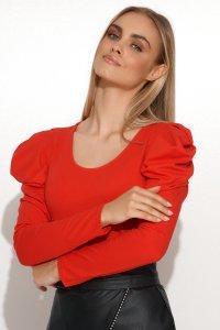 Dzianinowa bluzka damska z bufiastymi rękawami czerwona M692