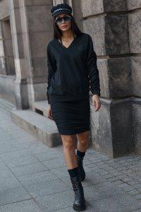 Dresowy komplet damski ze spódnicą czarny NU366