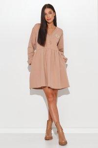 Dresowa sukienka mini z ozdobną aplikacją ciemny beż NU362