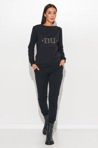 Damski komplet dresowy z błyszczącą aplikacją czarny NU370