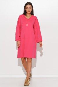 Dresowa sukienka oversize z dekoltem w serek amarantowa NU364