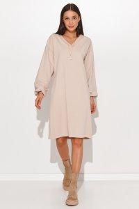 Dresowa sukienka oversize z dekoltem w serek jasny beż NU364