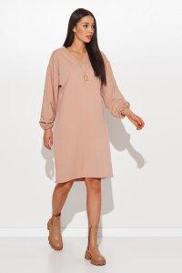 Dresowa sukienka oversize z dekoltem w serek cappuccino NU364