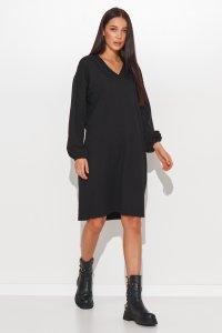 Dresowa sukienka oversize z dekoltem w serek czarna NU364