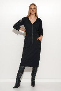 Sukienka dresowa z grubym zamkiem i ściągaczem czarna M694