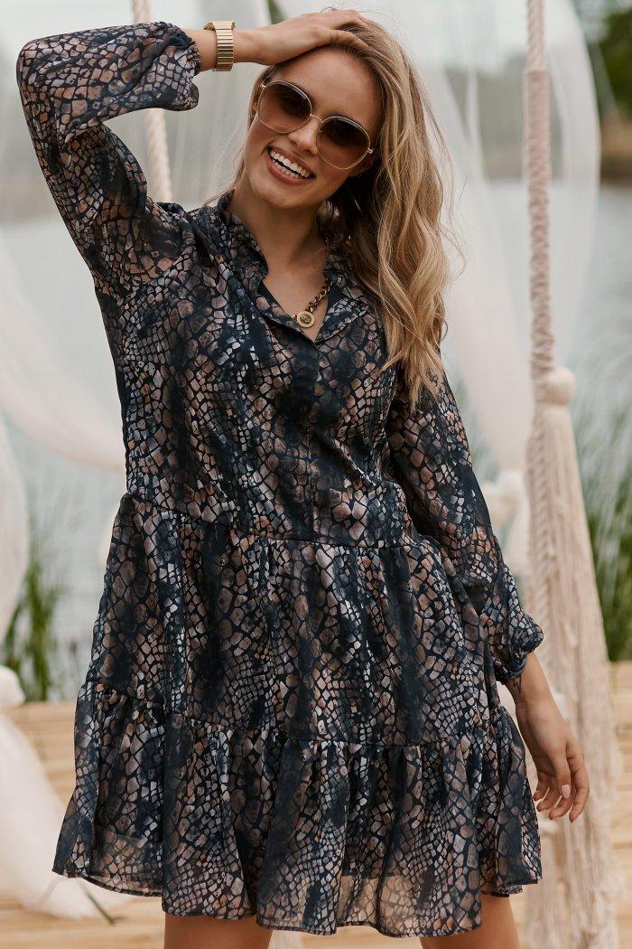 Sukienka z falbankami w kwieciste wzory w.29 M585