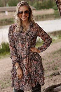 Sukienka z falbankami w kwieciste wzory w.32 M585